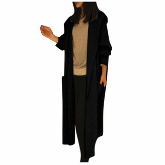 Lazzboy Women Cardigan Coat Knitted Hooded Casual Waterfall Collar Solid Loose Oversize Long Sweater Jacket Parka (S(12)