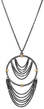 Armenta 18K Yellow Gold & Blackened Sterling Silver Old World Champagne Diamond Adjustable Chandelier Necklace, 17