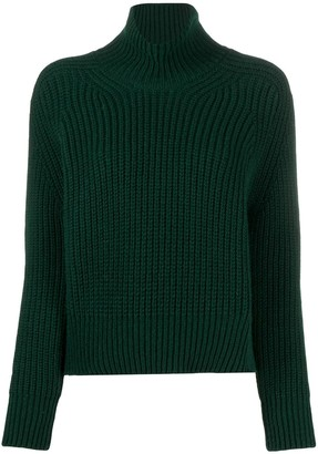 Ami Funnel Neck Ribbed Sweater