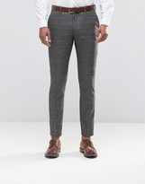 Selected Skinny Fit Prince of Wales Pants with Stretch
