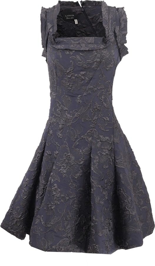 Lanvin Square Neck Brocade Dress