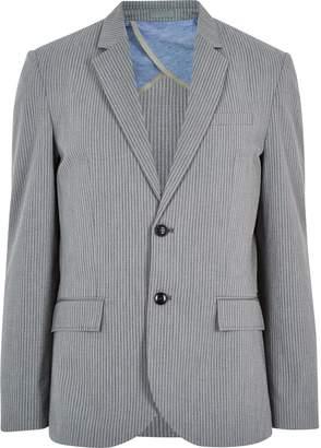 River Island Mens Grey cotton seersucker blazer