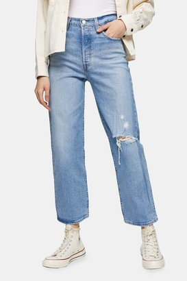 Levi's Womens Ribcage Straight Ankle Jeans By Mid Stone