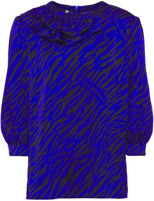 Love Moschino Ruffled Zebra-print Hammered-satin Blouse