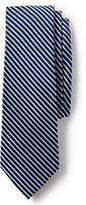 Lands' End Men's Long Silk Narrow Stripe Necktie-Classic Navy Stripe