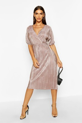 boohoo Plisse Buckle Wrap Midi Dress
