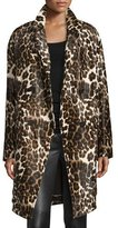 Diane von Furstenberg Finola Two Calf Hair Coat, Snow Cheetah Simple