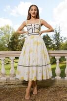 Thumbnail for your product : Karen Millen Meadow Floral Corset Detail Silk Cotton Dress
