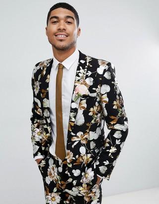ASOS DESIGN wedding skinny suit jacket in black foil floral print