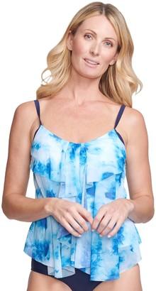 Women's Mazu Swim Tie-Dye Draped Tier Tankini Swim Top with Tummy Slimmer