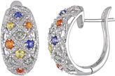 FINE JEWELRY Multi-Gemstone and 1/4 CT. T.W. Diamond 22.4mm Sterling Silver Hoop Earrings