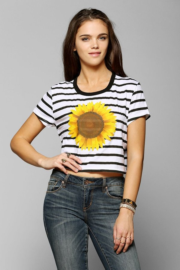 Truly Madly Deeply Striped Sunflower Cropped Tee