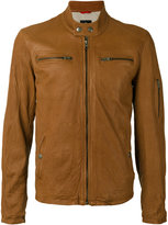 Fay zipped jacket - men - Cotton/Leather/Polyester - M