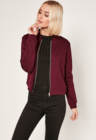 Missguided Burgundy Tall Loop Back Jersey Bomber Jacket