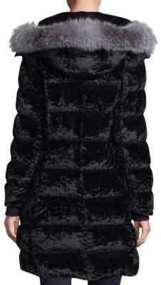 Andrew Marc Fox Fur-Trimmed Velvet Puffer Jacket