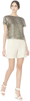 Alice + Olivia Natural Zahra Relaxed Roll Cuff Cargo Shorts