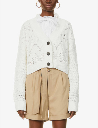 Free People Chloe semi-sheer crop cotton-knit cardigan