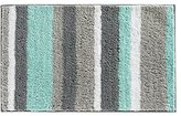 InterDesign Stripz Microfiber Bath Rug, 34 x 21-Inch, Mint/Gray