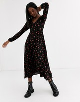New Look long sleeve v neck dress in dark base rose floral