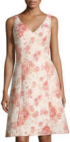 Aidan Mattox V-Neck Brocade A-line Dress, Pink Pattern