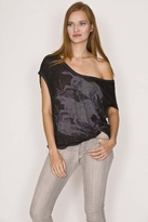 Free People Double V Horses Tee in Washed Black