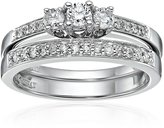 Kobelli 2/5 cttw Three Stone Round Diamond 14k Gold Wedding Ring Set, Size 6