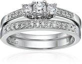 Kobelli 2/5 cttw Three Stone Round Diamond 14k Gold Wedding Ring Set, Size 7