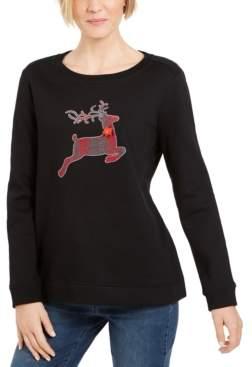 Karen Scott Petite Embellished Sweatshirt, Created For Macy's