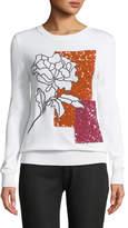 Oscar de la Renta Crystal-Embellished Crewneck Pullover Sweater