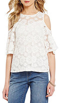Bobeau Petite All-Over Floral Lace Pattern Cold-Shoulder Top