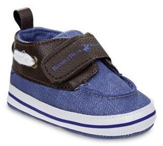 Beverly Hills Polo Club Vegan Leather Strap Detail Denim Crib Shoes (Infant Boys)