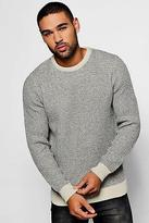 Boohoo Mens Two Colour Chunky Crew Jumper in Stone size S