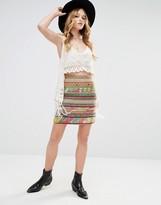 Glamorous High Waist Mini Skirt In Woven Design