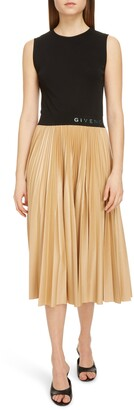 Givenchy Logo Waist Pleated Midi Dress