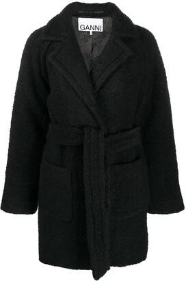 Ganni Belted Textured Coat
