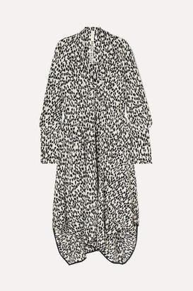 Petar Petrov Tie-neck Asymmetric Leopard-print Silk Crepe De Chine Midi Dress - Black