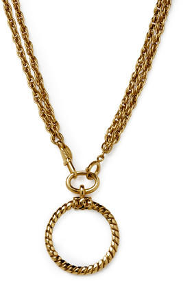 Chanel Vintage CC Logo Gold Chain Loupe Pendant Necklace