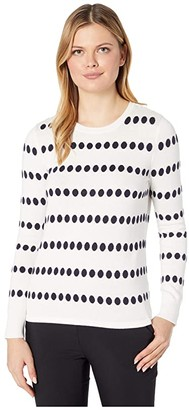 Vince Camuto Long Sleeve Dot Jacquard Crew Neck Sweater (Pearl Ivory) Women's Sweater