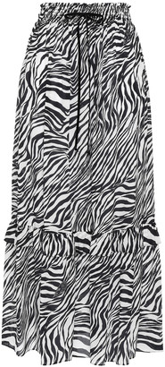 McQ Tiered Zebra-print Silk Crepe De Chine Midi Skirt