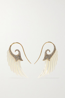 Noor Fares Fly Me To The Moon 18-karat Gray Gold, Diamond And Mother-of-pearl Earrings