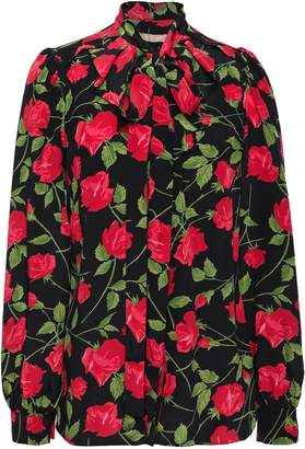 Michael Kors Pussy-bow Floral-print Silk Crepe De Chine Blouse
