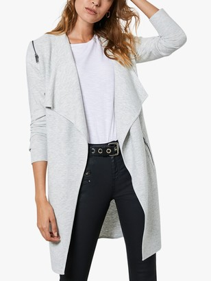 Mint Velvet Zip Detail Waterfall Longline Cardigan, Silver