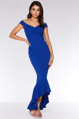 Quiz Royal Blue Bardot Knot Front Maxi Dress