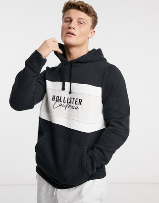 Hollister chest logo colorblock hoodie in black