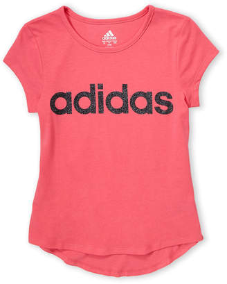 adidas Girls 7-16) Glitter Logo Short Sleeve Tee