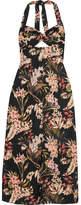 Zimmermann Curacao Floral-print Cotton-voile Halterneck Midi Dress - Black