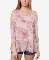 O'Neill Juniors' Anderson Printed Cold-Shoulder Top