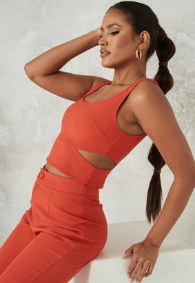 Missguided Orange Co Ord Cut Out Crop Top