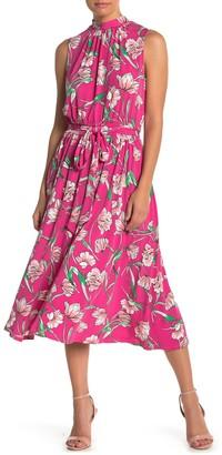Leota Mindy Mock Neck Tie Midi Dress