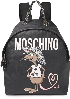 Moschino Printed Textured-leather Backpack